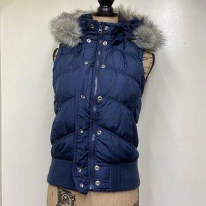 Aeropostale Faux Fur Hooded Navy Blue Puff Vest M